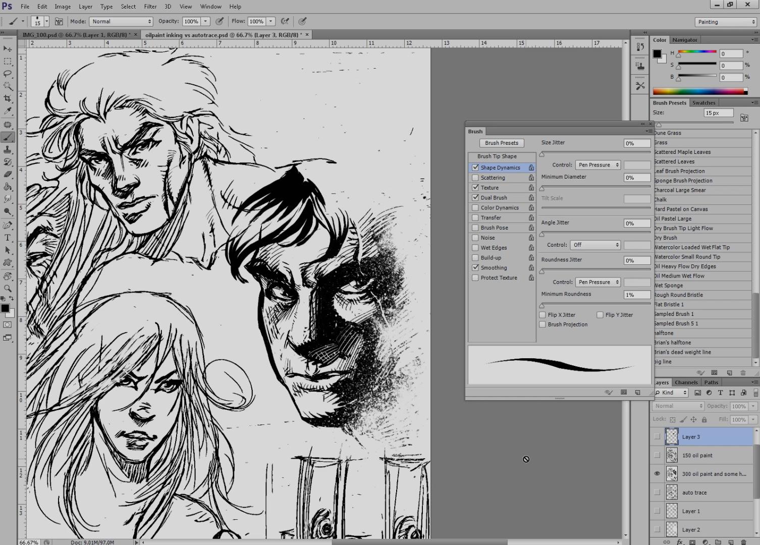 Single Weight Line Art Tutorial : Inking line art tutorial digital